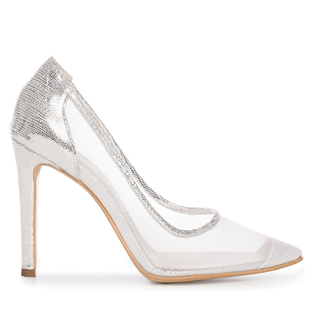 Silver Wedding Shoes.Silver Bridal Shoes With Transparent Mesh Bella