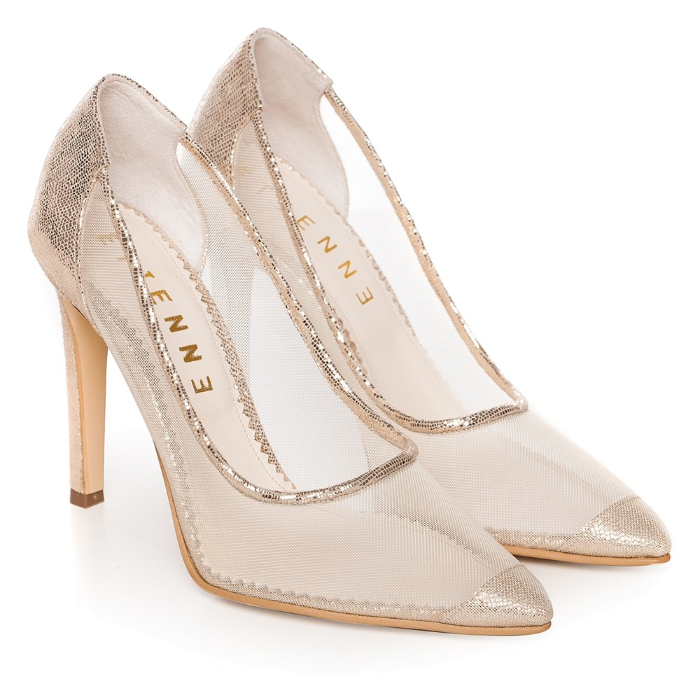 ebb3b908f98 Gold bridal shoes with transparent mesh Bella - Default Store View