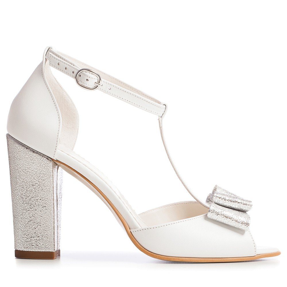 2bfd6b3514baf White bridal shoes with t strap and bow Peep Toe