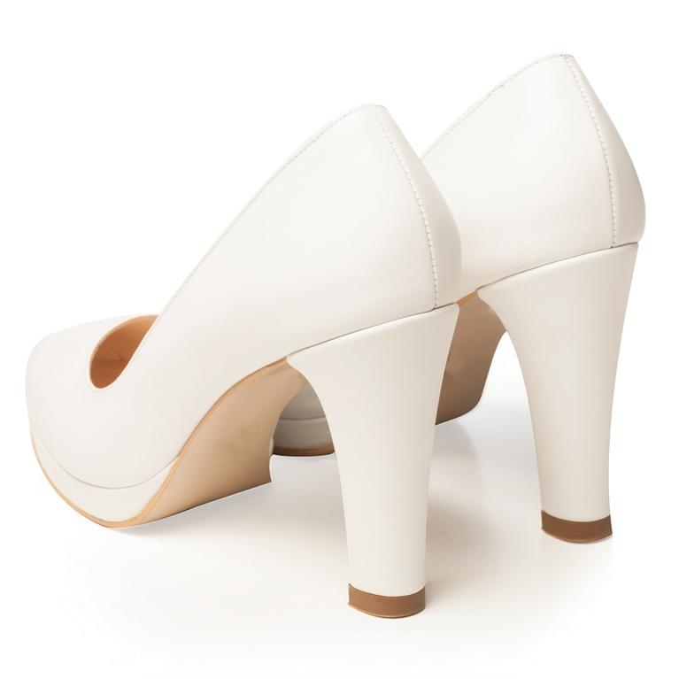 White bridal shoes with platform and block heel Elsa