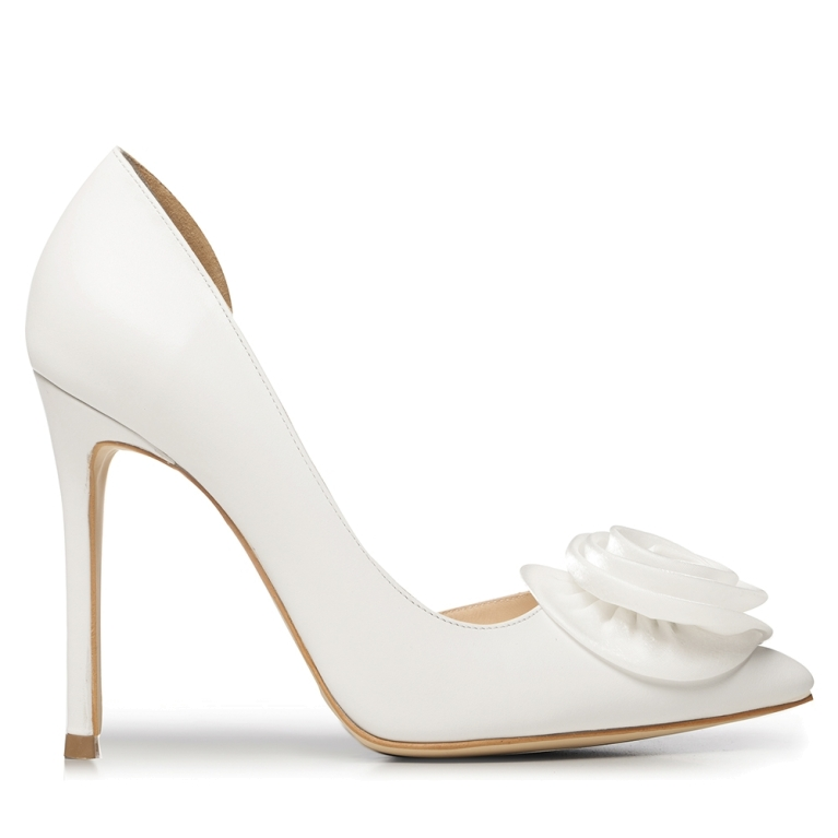 White bridal shoes with satin flower and crystals Adele