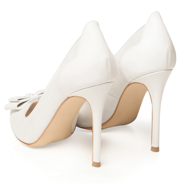 White bridal shoes with bow and rhinestones Brianna