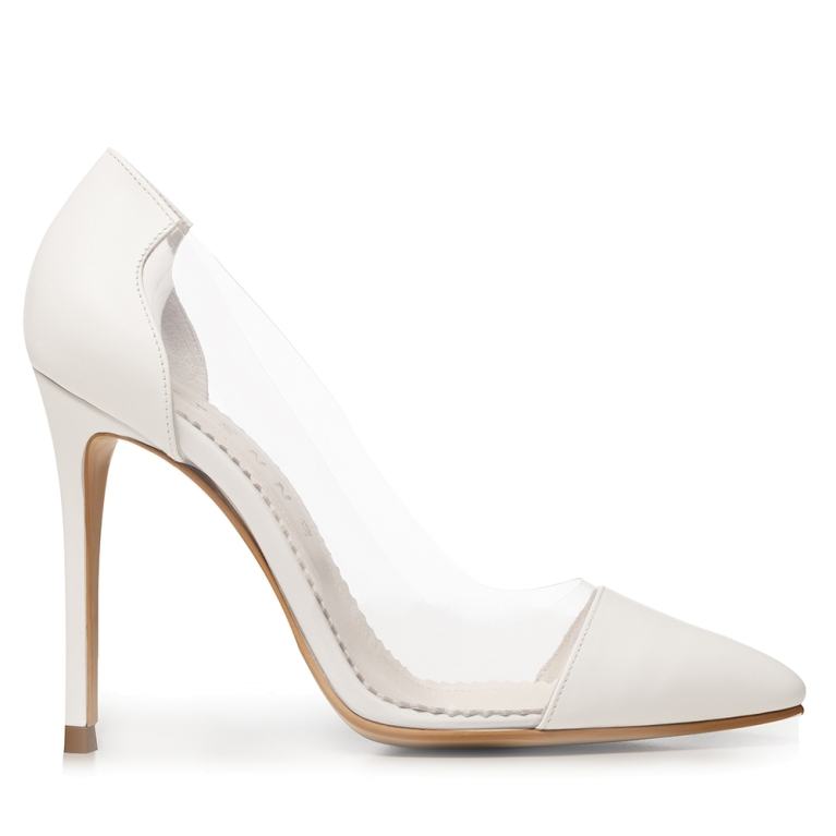 White bridal shoes with transparent Plexi