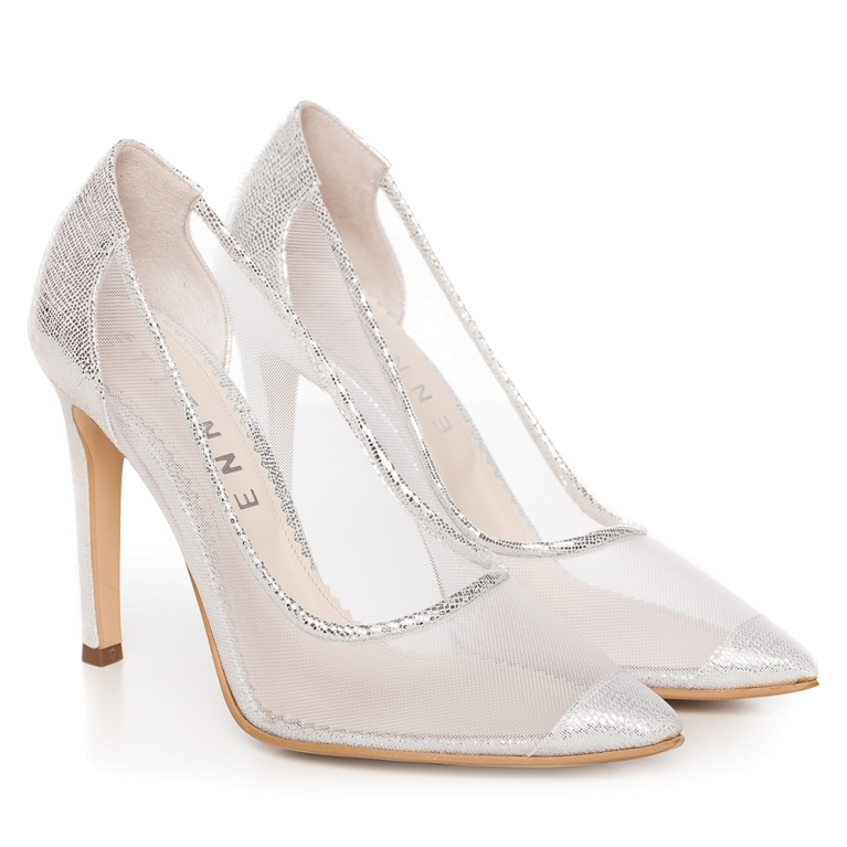 Silver bridal shoes with transparent mesh Bella
