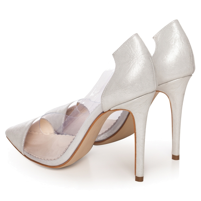 Silver bridal shoes transparent  with flower print Plexi