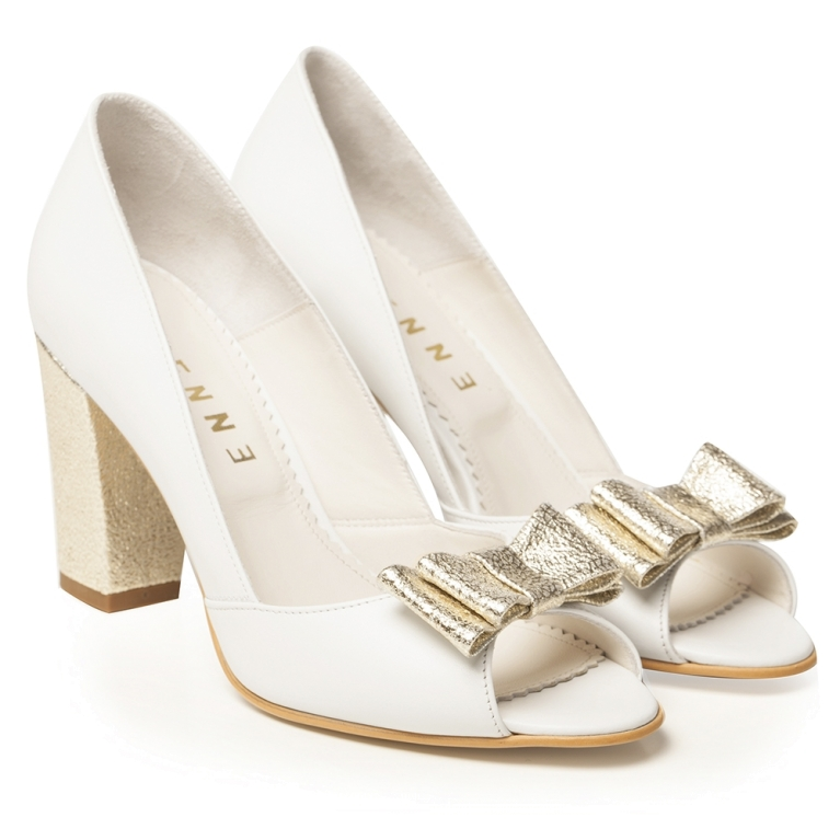 White bridal shoes with gold block heel Peep Toe