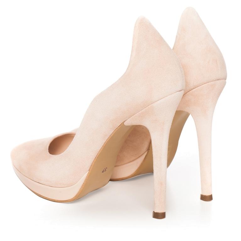 Nude bridal shoes with platform high heel Nina