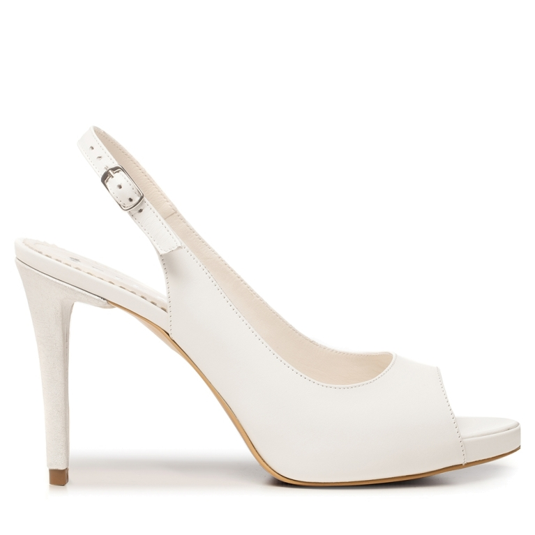 White bridal shoes with platform slingback Claire