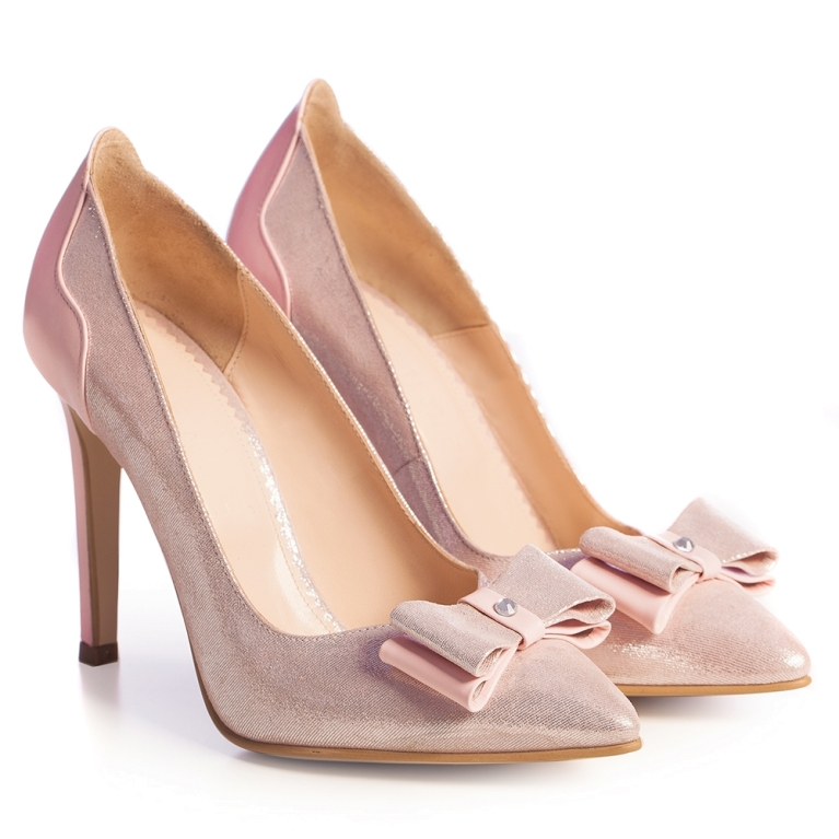 Pink bridal shoes with bow Brianna