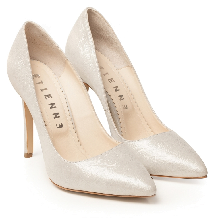 Evening silver stiletto shoes Classy