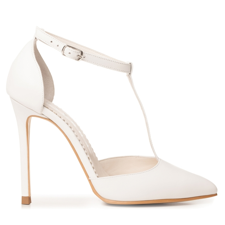 White bridal sandals with t strap and high heel Emma