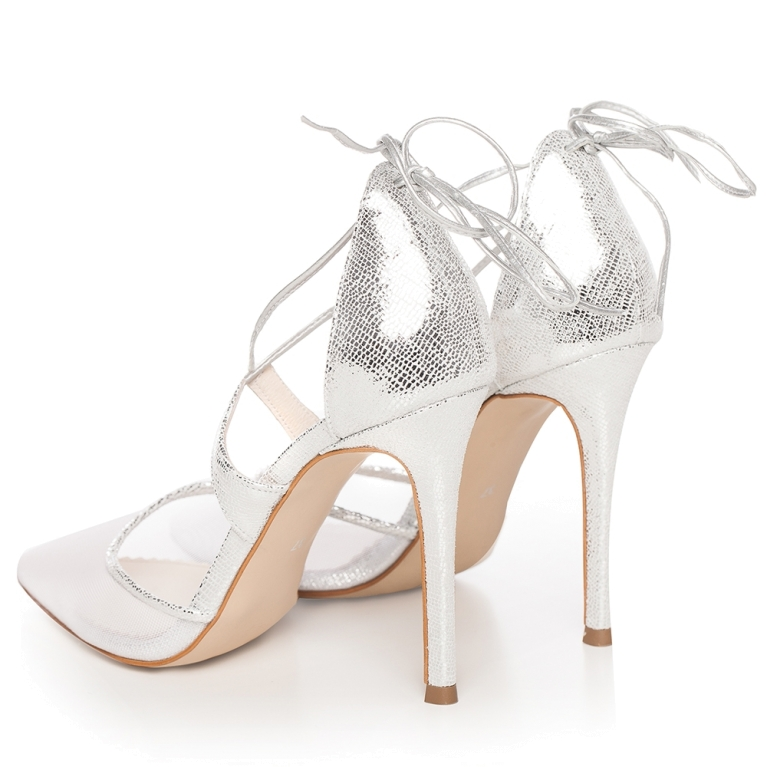 Silver sandals with lace and high heel Charllote