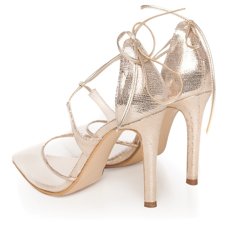 Gold sandals with lace and high heel Charllote