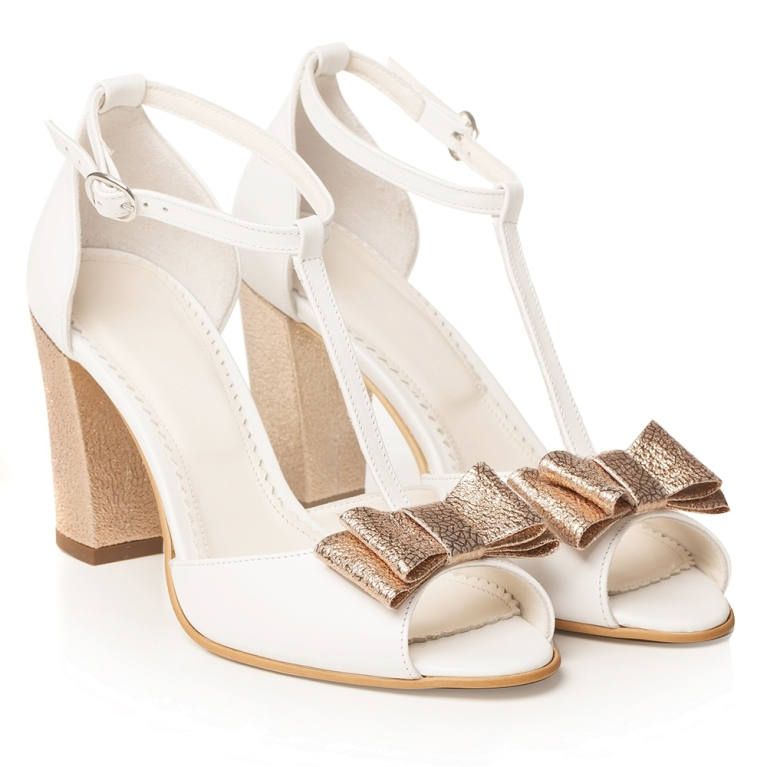 White bridal shoes with t strap rose gold block heel Peep Toe