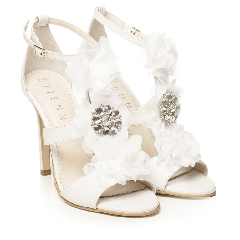 White bridal sandals with satin flower and crystals Bianca