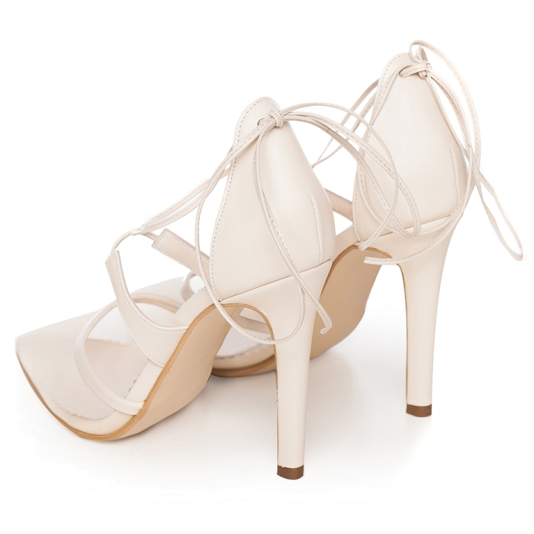 Ivory  sandals with lace and high heel Charllote
