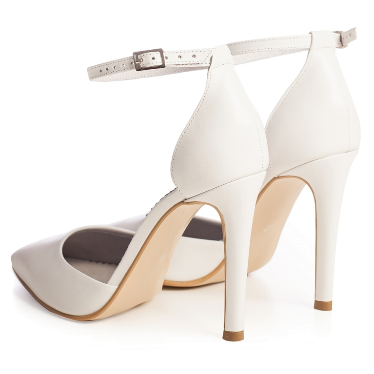White bridal sandals with ankle strap Chloe