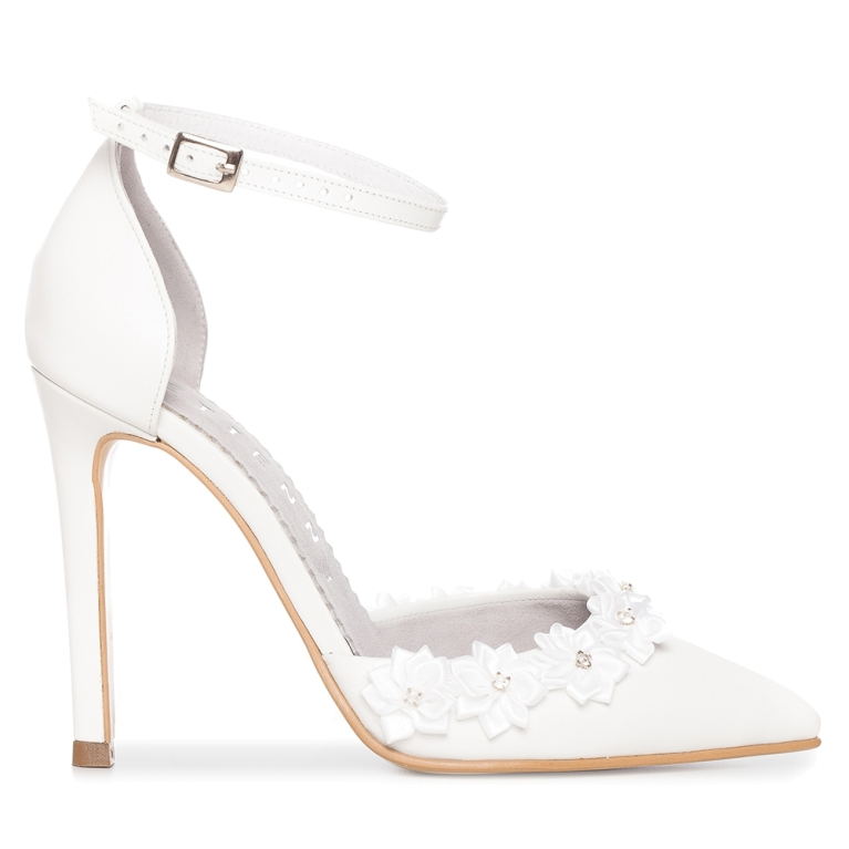 White bridal sandals with ankle strap Chloe Flower