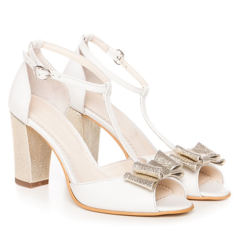 White bridal shoes with t strap and gold bow Peep Toe